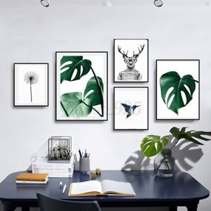 Nordic-Green-Plant-Leaf-Canvas-Art-Poster-Print-Wall-Picture-Home-Decor-no