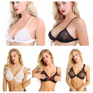 7817d888b8109 Women Mesh Sheer Bralette Bra Bustier Crop Top Wire-free Unpadded ...