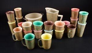Vintage-Raffiaware-burlap-Set-Ice-Bucket-Pitcher-Mug-Glasses-24-Pcs