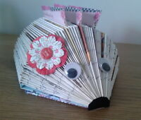 Hand created hedgehog business card/memo holder. Desk tidy. Unusual gift.
