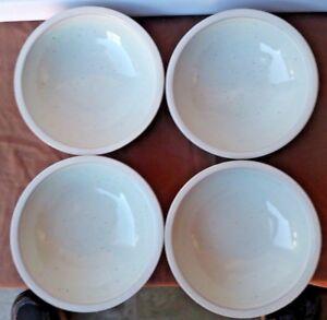 VTG-Yamaka-Japan-Stoneware-White-Rims-Speckled-Interior-Cereal-Bowls-6-5-034-Set-4