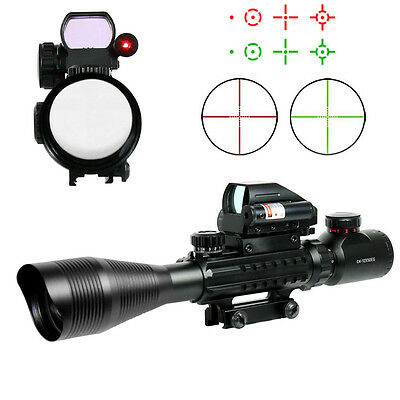 4-12X50 Tactical Rifle Scope Mil-dot wi Holographic 4 Reticle Sight-Red Laser