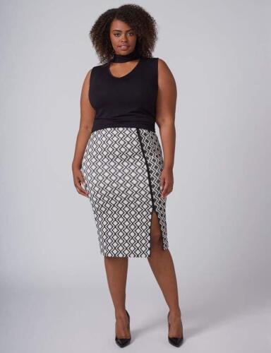LANE BRYANT ~NWT 18 24 28 ~Zig Zag DIAMOND Jacquard ZIPPER PENCIL Straight Skirt