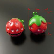 Colorful Strawberry Shape Brass Jingle Bell Pendant Charms DIY Crafts 10PCS
