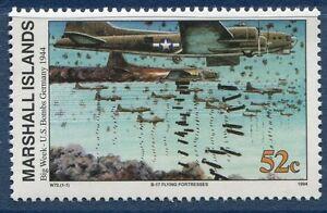 Îles Marshall 1994 Guerre Mondiale 2 Seconde Guerre Mondiale Scott 483 Big Semaine Bombardement B-17 W72 Jamais à Charnière-afficher Le Titre D'origine