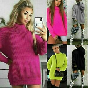 Womens-High-Polo-Roll-Neck-Chunky-Knitted-Fluorescent-Tunic-Neon-Jumper-Dress