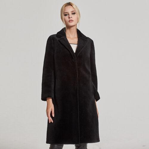 Women/'s Real Fur Coat Sheep Shearing Fur Coat with Turn-down Collar Winter 17145