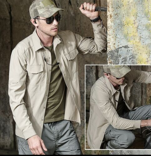 Mens Tactical Shirt Military Long Sleeve Shirt Hiking Army Combat Outdoor Casual