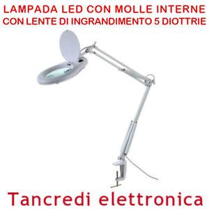 Lampada Da Tavolo Con Lente Ingrandimento Da 5 Diottrie Per Estetica Laboratorio Ebay