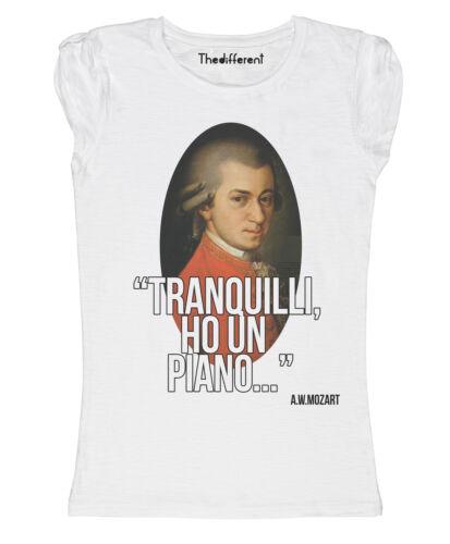 New T-Shirt Donna Fiammata Mozart Ho Un Piano Idea Regalo