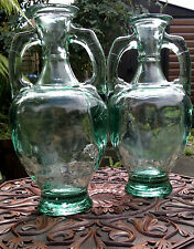 "Pair of Vintage Classical Amphora Green Glass Vases 13.5"" Tall - 6.8 kilos!!!"