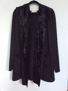 Entro Jersey Jacket With Pockets & Velvet Trim And Hood - Nwot Large Aromatic Flavor