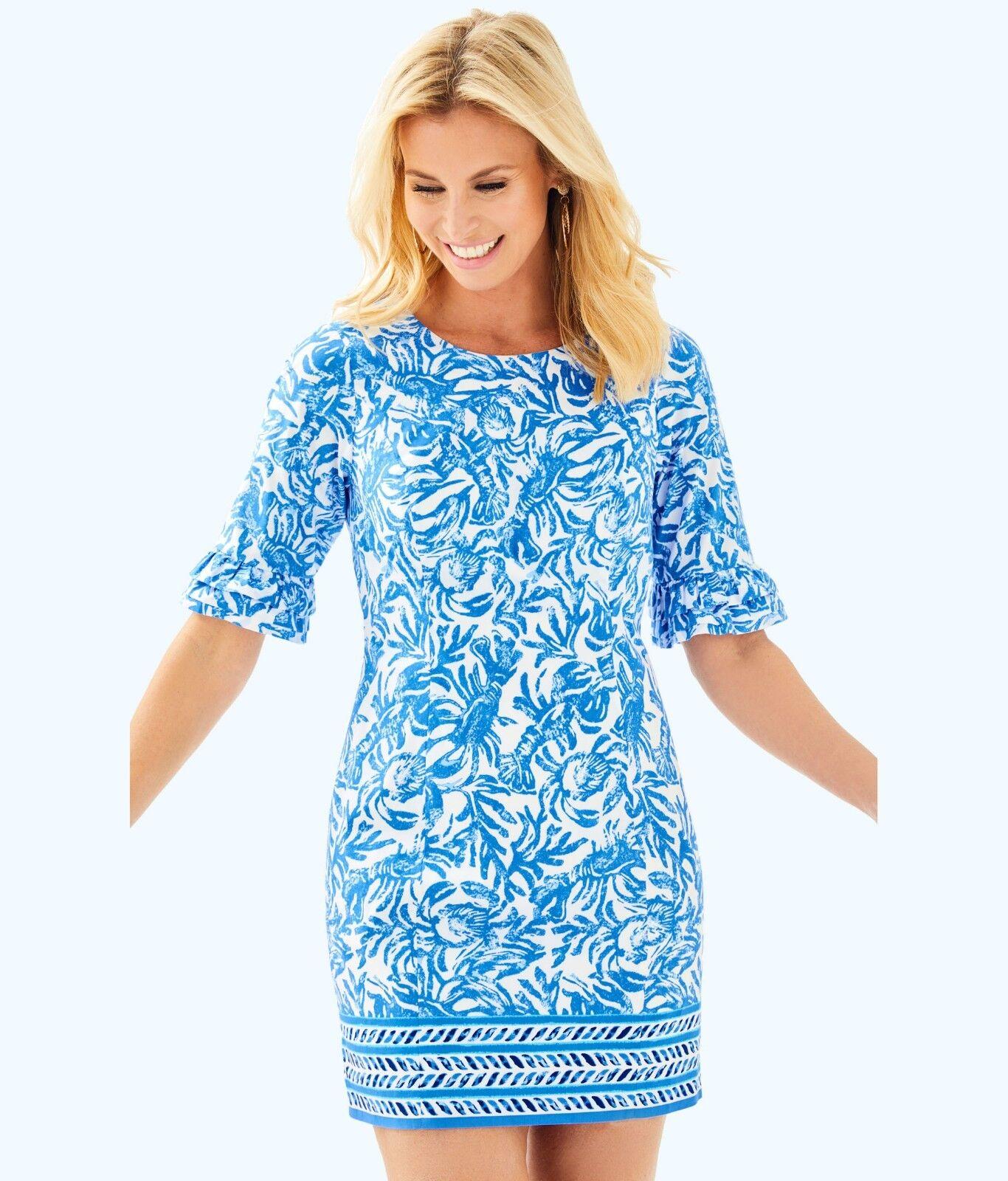 Neu Lilly Pulitzer Fest Stretch Stretch Stretch Kleid Resort Weiß auf einer Rolle Blau 4 8 | Große Ausverkauf  b50e05