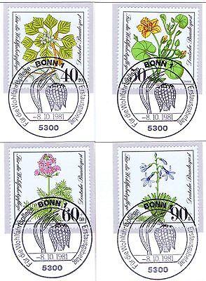 2019 Mode Brd 1981: Gefährdete Pflanzen! Wohlfahrt Nr. 1108-1111 Mit Bonner Stempel! 1801