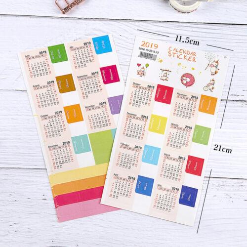 1//2Set 2018-2019 Calendar Sticker Monthly Planner DIY Decal Stationery Label