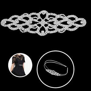 Diamante-Sew-On-Silver-Crystal-Motif-Rhinestone-Wedding-Dress-DIIY-Embellishment