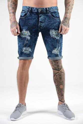 ETO Da Uomo ANGOSCIA Strappato Riparazione Slim Stretch Pantaloncini in jeans denim di marca