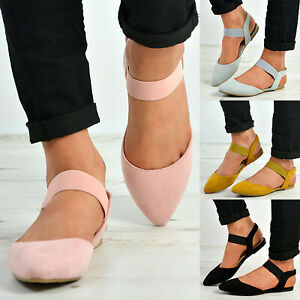 Women-039-s-Summer-Ankle-Strap-Shoes-Ballet-Flats-Pointed-Toe-Strappy-Sandals-Size