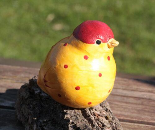 Garten Keramik Unikat Spatz Franz Blumenstecker Tonfigur Vogel Dekoration