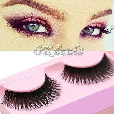 1 Pair Long Thick False Eyelashes Fake Eye Lash Extension Handmade Soft Makeup