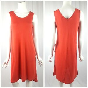 LOGO-Lori-Goldstein-Lounge-Dress-Size-XS-Sleeveless-Linen-Blend-Midi-Orange