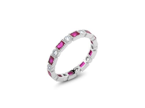 Platinum Sterling Silver Pink /& White Sapphire Vintage Eternity Band Ring Bridal