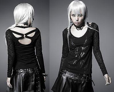 Gothic Punk Rave Damen Shirt schwarz Stretch Steampunk Neckholder langarm  WGT