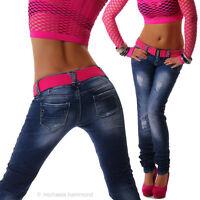 Damen Hüftjeans Jeans Hose Röhrenjeans Röhre Gürtel Neu Simply Chic XS S M L XL