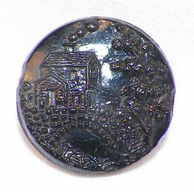 Antique Black Glass Button Water Mill Bridge Picture Molded Shank Victorian #21