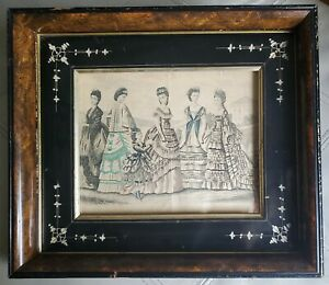 Antique-Victorian-1870-Fashion-Ad-in-Eastlake-Burlwood-Ebony-Etched-Frame