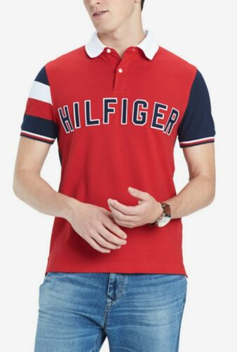 Tommy Hilfiger Men/'s Red Colorblock Logo Custom Fit Short Sleeve Polo Shirt