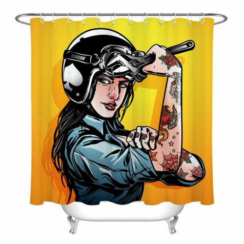 Mechanic Tattoo Girl Shower Curtain Set Bathroom Fabric Bath Curtains Hooks