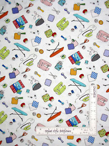 Sewing-Theme-Button-Scissors-White-Cotton-Fabric-Northcott-Mrs-Bobbins-By-Yard
