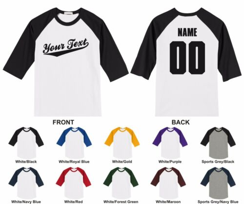 Personalized Custom Your Text Name /& Number Youth Raglan T-shirt Baseball Script