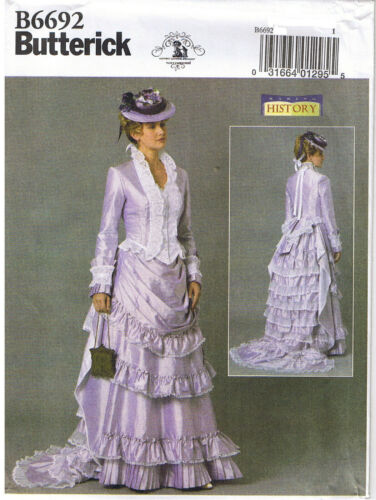 Victorian Button Front Boned Jacket Tier Skirt Train Sewing Pattern 6 8 10 12 14