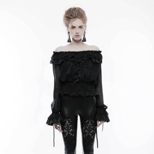 shoulder Schulterfrei Rave Schwarz the Damen Gothic Top Punk Carmen Off bluse vwqHawB