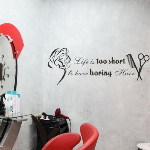 Barber Shop Wall Sticker Inspired Life Quote Hair Salon Beauty Vinyl Art Decor