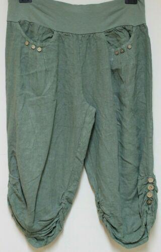 Nouveau Femmes Plus Taille italienne 3//4 longueur raccourcie Boutons Lin Pantalon