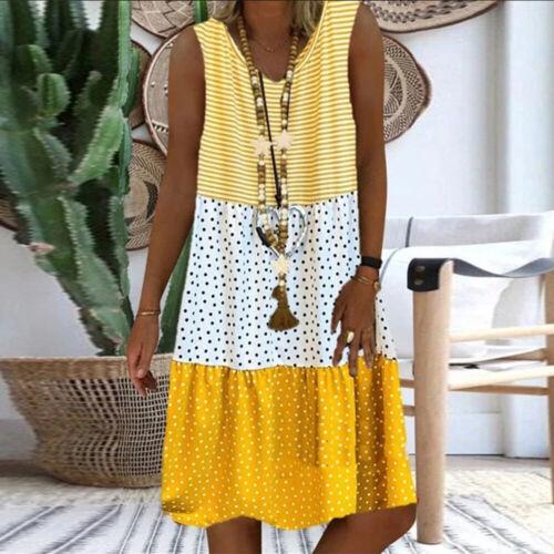 Ärmellos Kleid V-Ausschnitt Sommerkleid Streifen Punktedruck Kurz Vintaege Lose