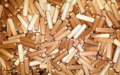 WOODEN DOWELS 6mm hardwood pegs fluted grooved plugs furniture joinery 173
