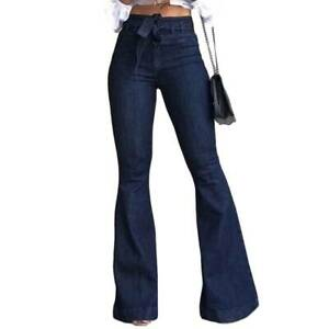 Details about Womens Flare Denim Pants Lady Bell Bottoms Jeans Boot Cut Long Maxi Trousers UK