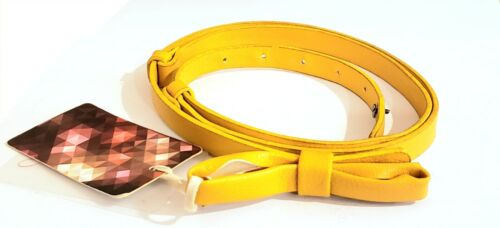 NWT Belt Jabeu Brand Women Accessory Skinny Yellow With Bow Stretch To Fit