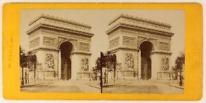 Parigi Arco Di Triomphe Francia Foto Stereo PL55L4n Vintage Albumina c1878