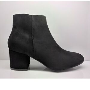 dbe02541e96f WOMENS LADIES BLACK SUEDE ANKLE BOOTS CHUNKY BLOCK MID HEEL ZIP UP ...