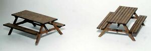 Pair-of-Pub-table-bench-OO-HO-gauge-model-accessories-Langley-F251