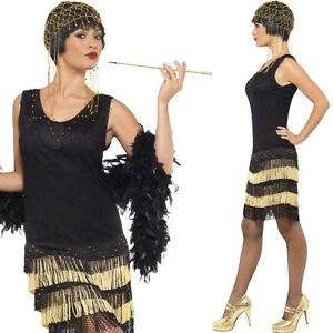 charleston kleid schwarz gold mafia flapper 1920 20er jahre damen kost m jazz ebay. Black Bedroom Furniture Sets. Home Design Ideas
