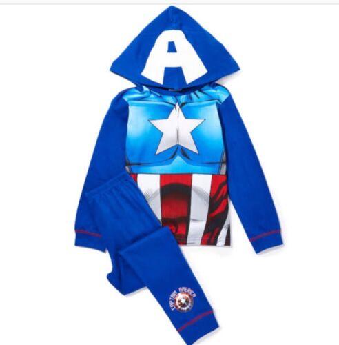 MARVEL Ragazzo Capitan America morbido cotone pigiama Set Cappuccio Rimovibile età 2-3