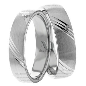 10K White Gold His and Her Wedding Band Set 5mm Wide Matching ...
