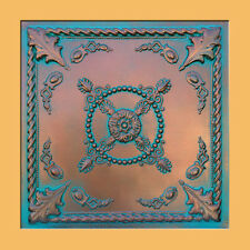 """DROP IN or GLUE ON UNIVERSAL 24""""X24"""" PVC Ceiling Tile - JEWEL Copper/Patina"""