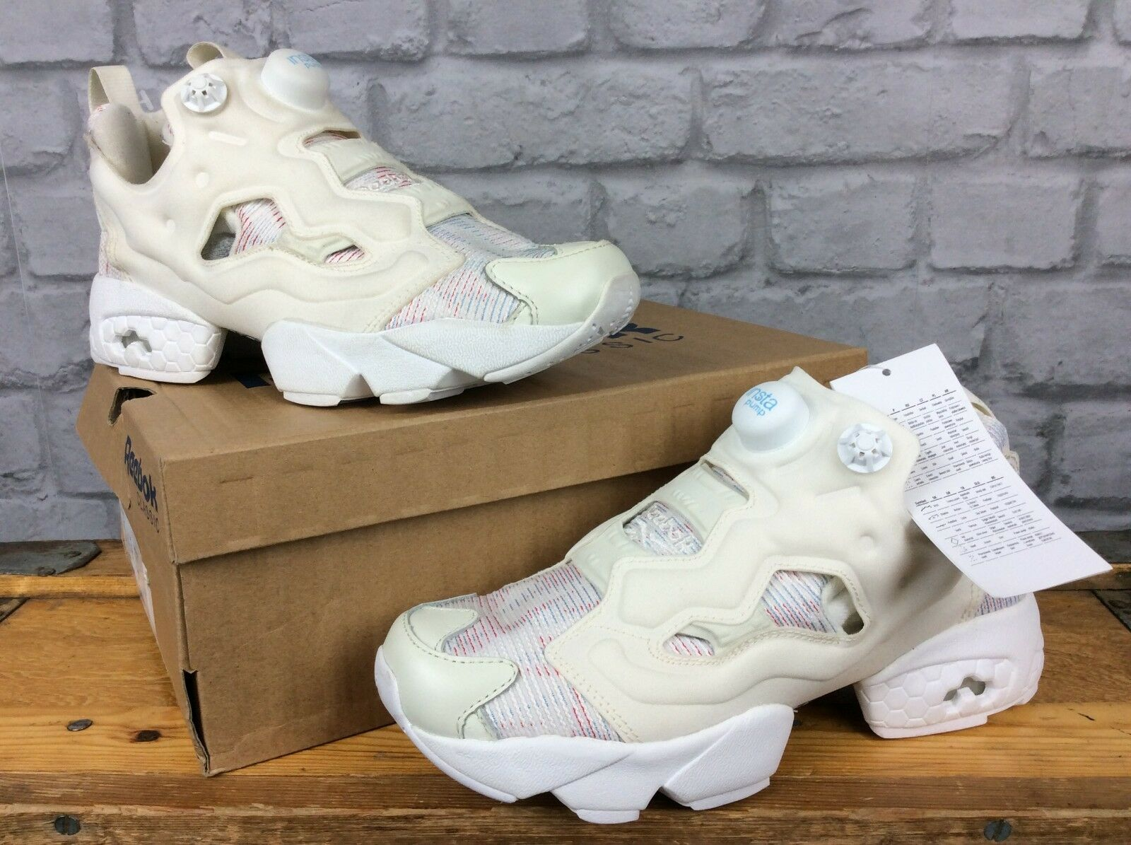 REEBOK LADIES UK 3 EU 35.5 CREAM Blau rot INSTAPUMP FURY TRAINERS